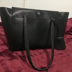 Tory Burch Parker Small Leather Tote Bag Black